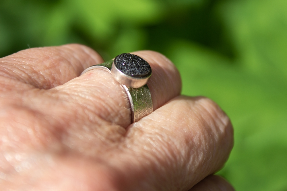 ring black druzy smallish worn