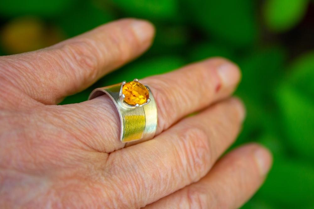 ring citrine KB oval worn
