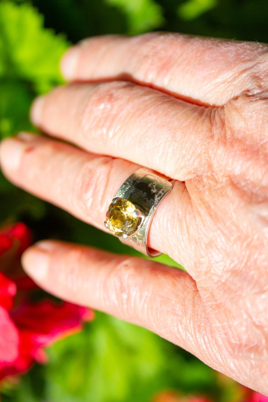 ring wrapover moonscape citrine worn
