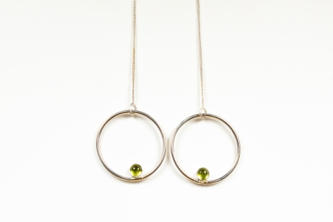earring threadthrough peridot