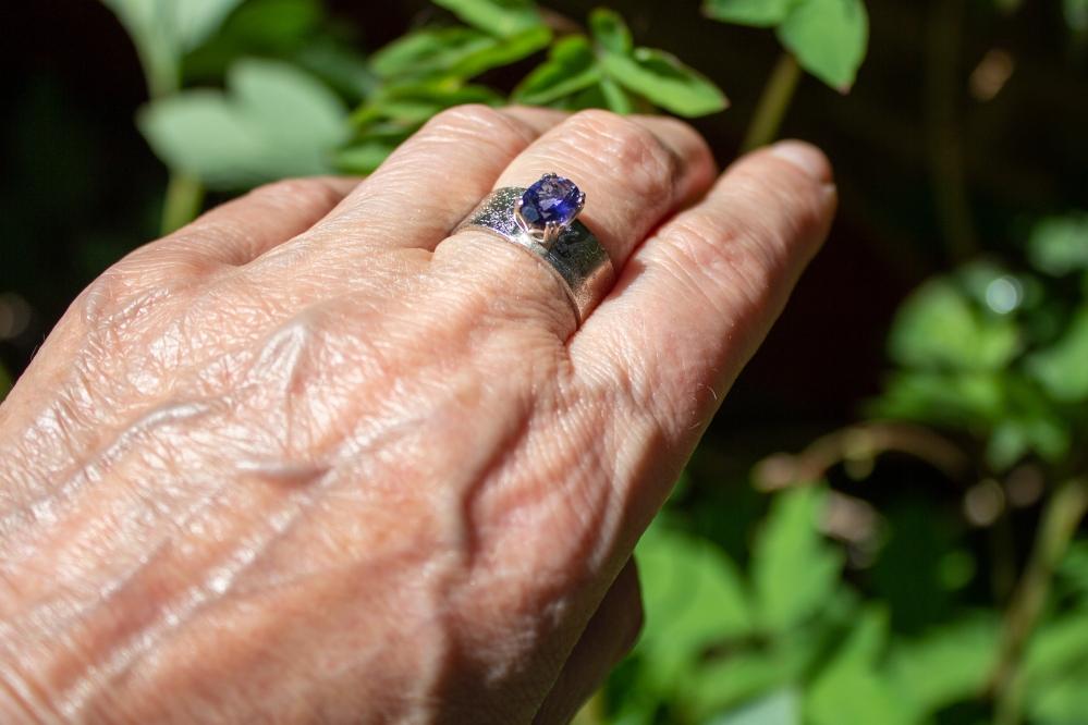 ring etched iolite worn