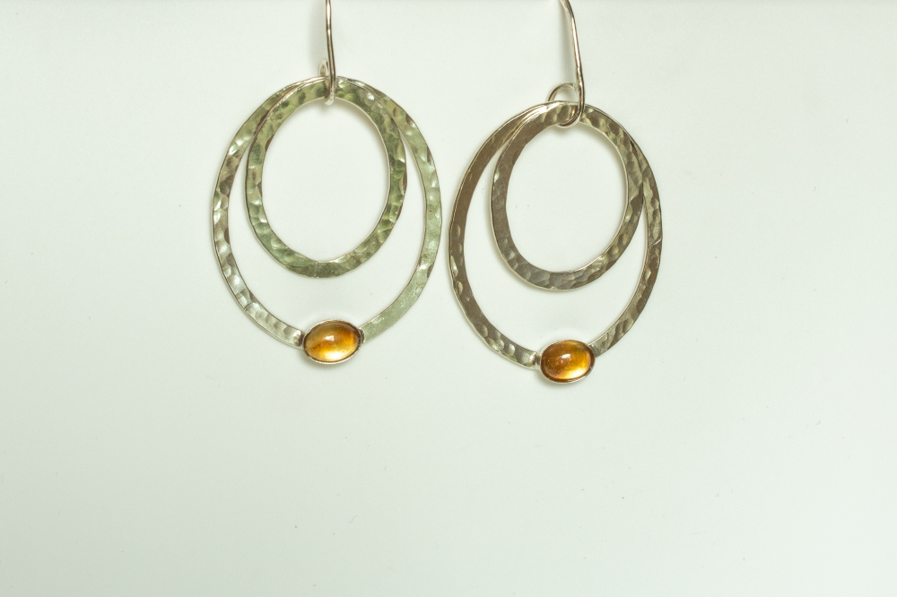 earrings drop 2 ovals citrine