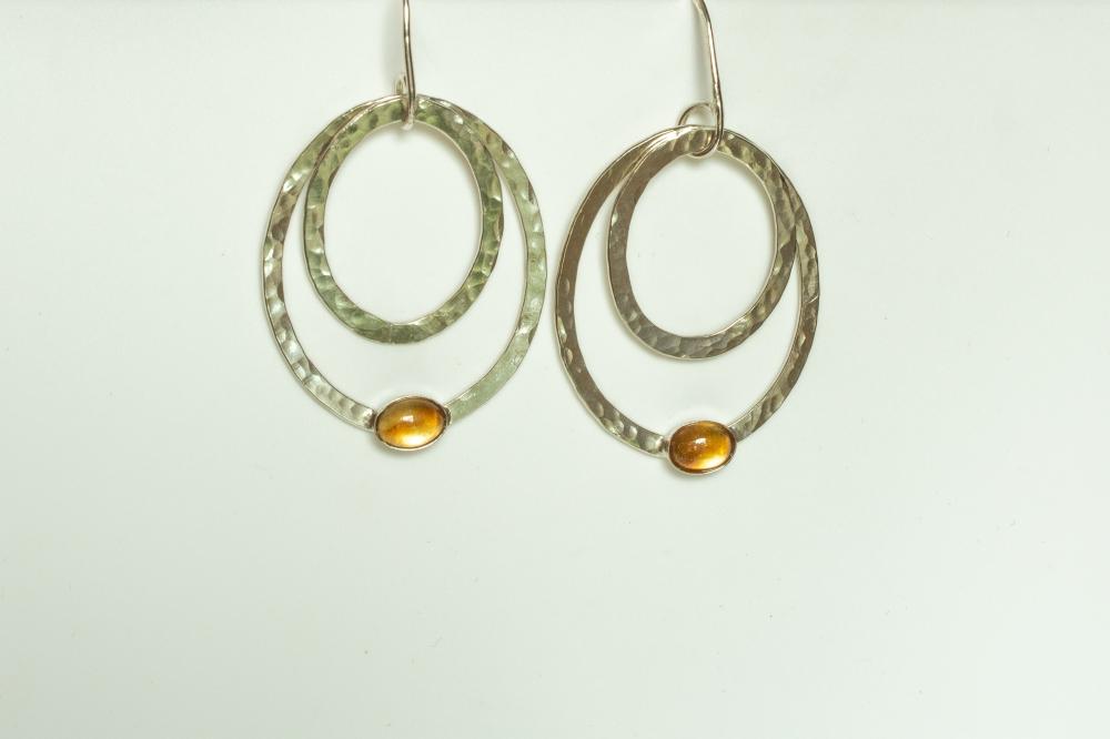 earrings drop 2 ovals citrine