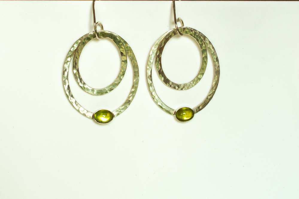 earrings drop 2 ovals peridot