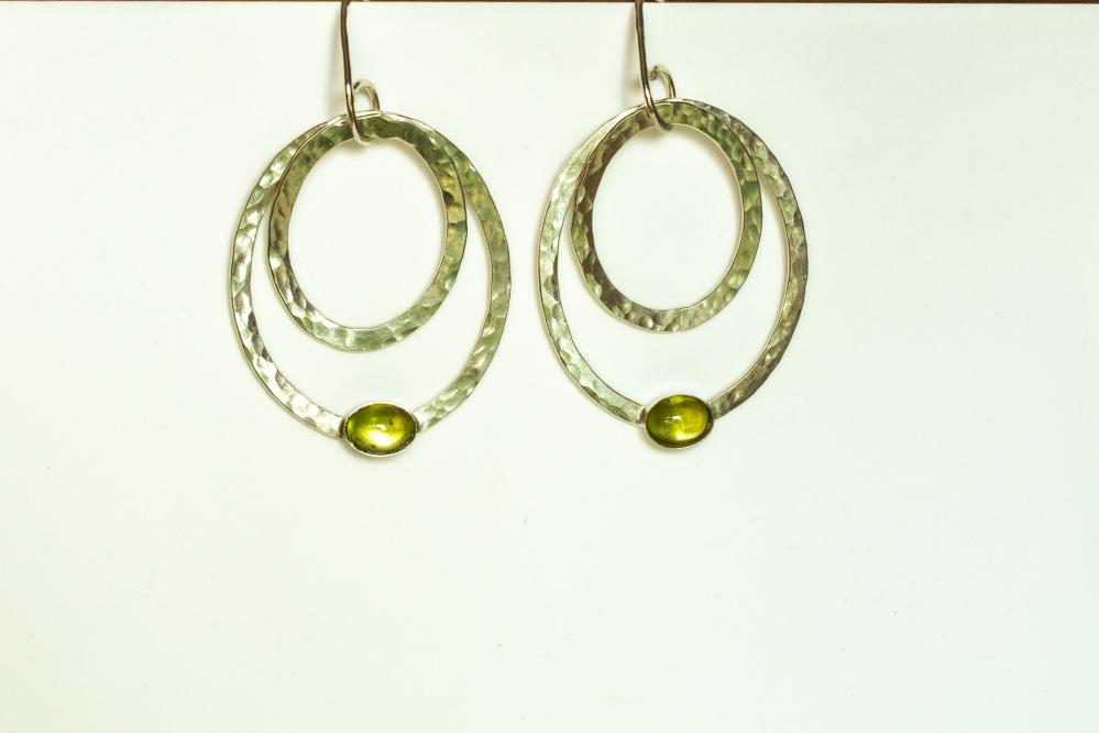 earrings drop 2 ovals peridot