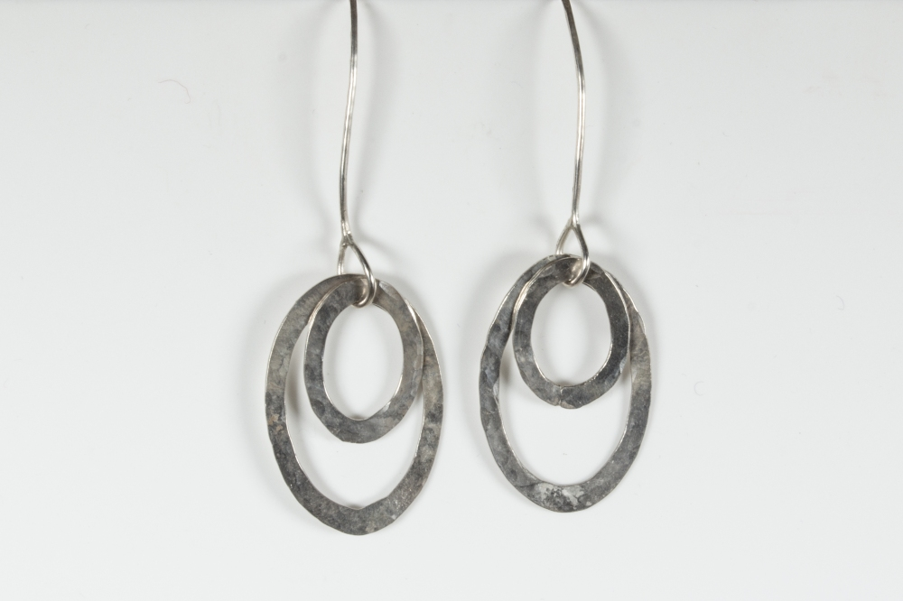 earrings drop hammered small