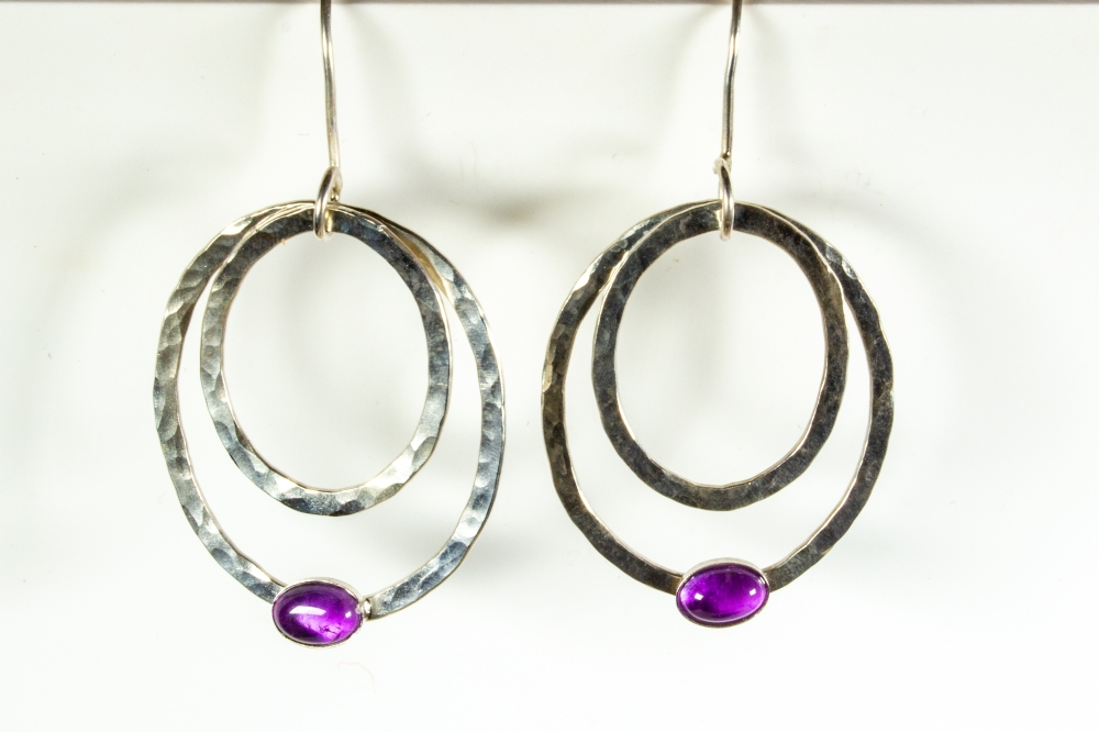 earrings hammered drop amethyst