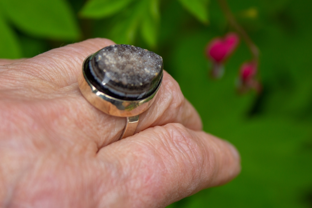 ring heart druzy worn