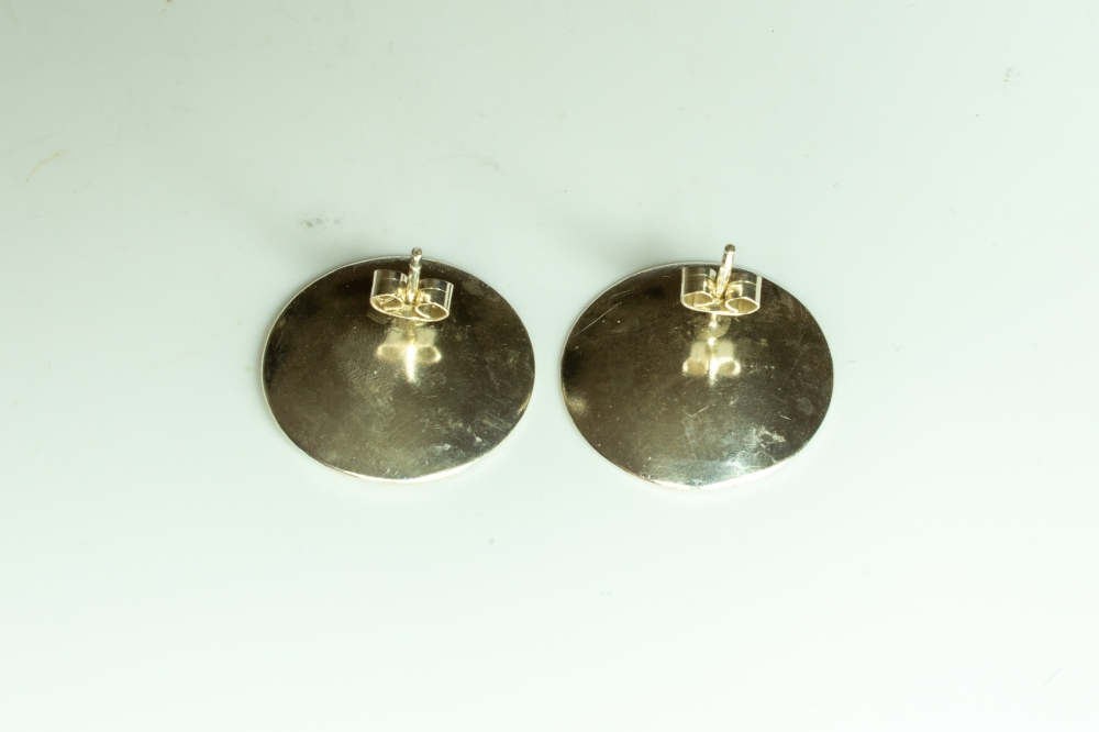 earrings round moonscape RG BK