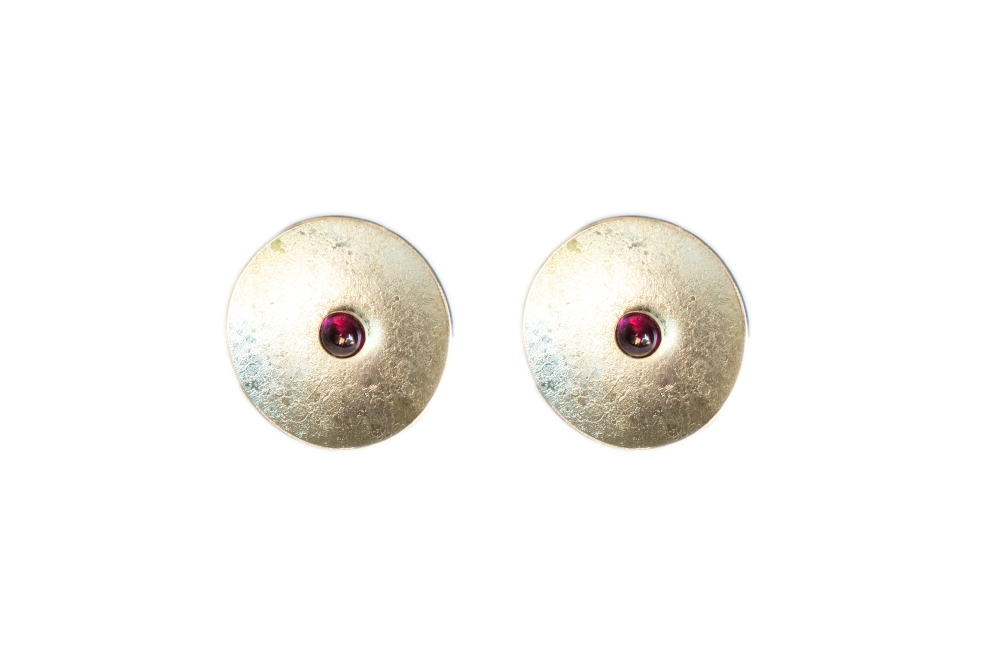 Earrings round Rhodelite garnet