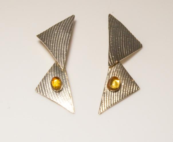 earrings triangles citrine
