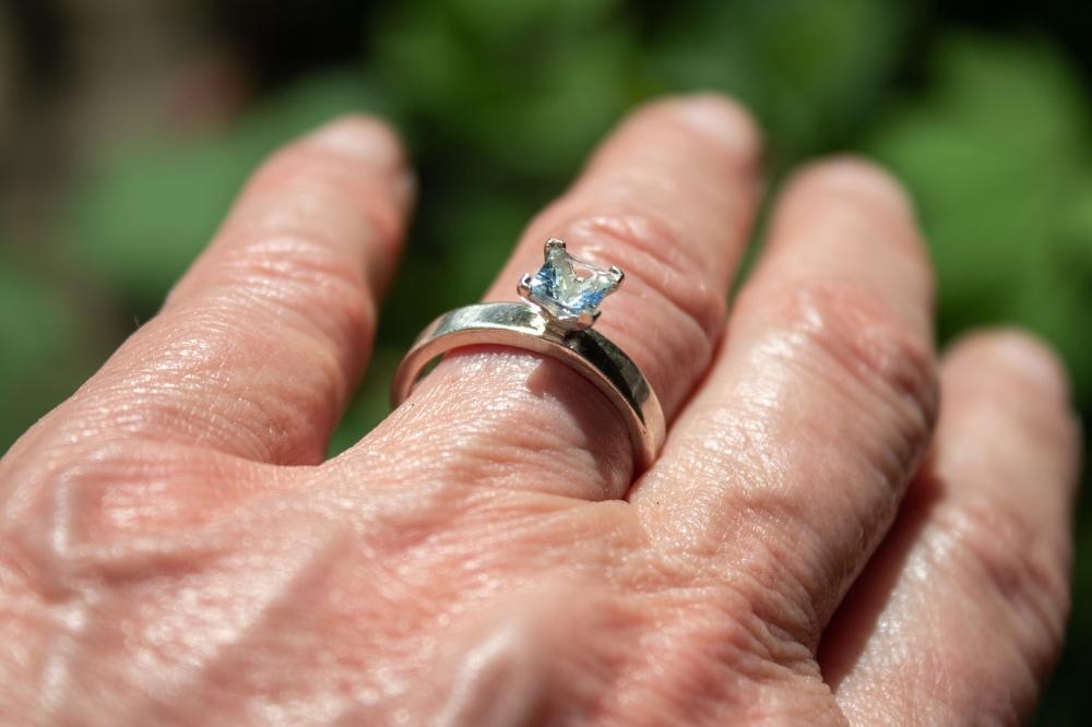 ring aquamarine worn