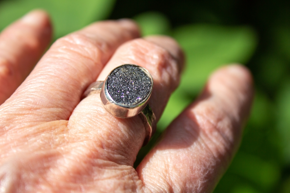 ring oval black druzy