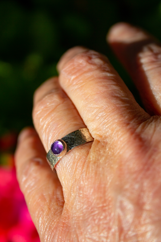 ring small amethyst worn