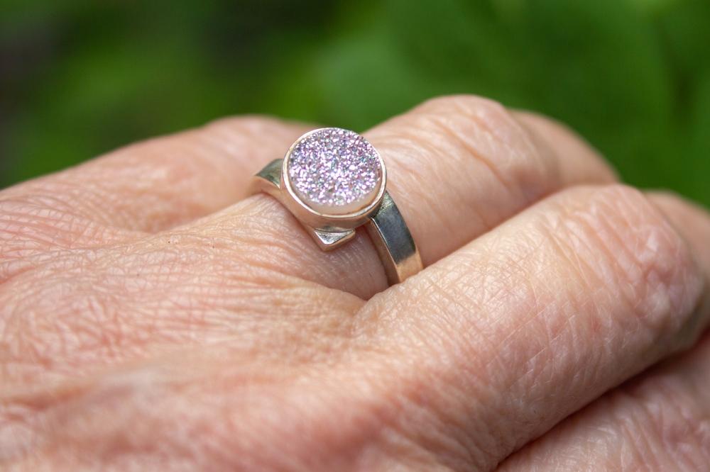 ring white druzy round worn