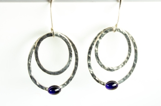 earrings hammered drop iolite