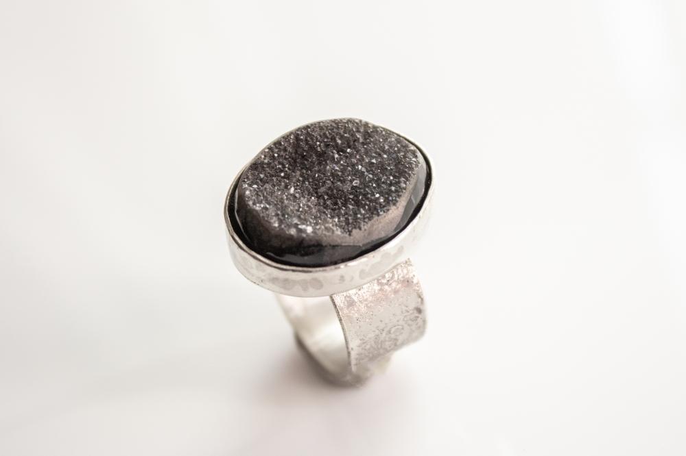 ring blak druzy big side