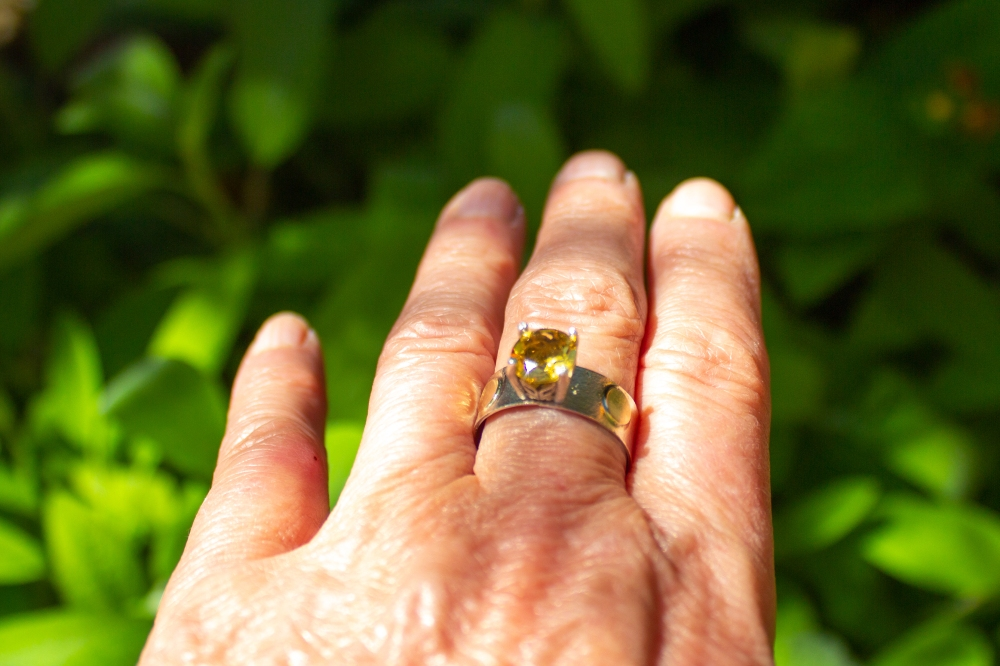 ring citrine dots worn