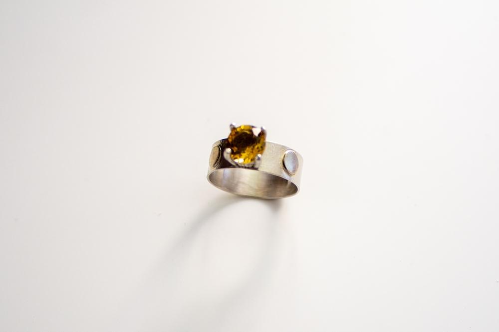 ring citrine gold dots 3