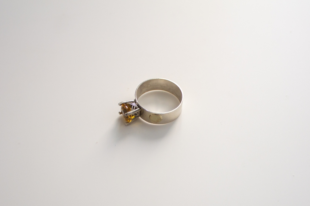 ring citrine gold dots flat