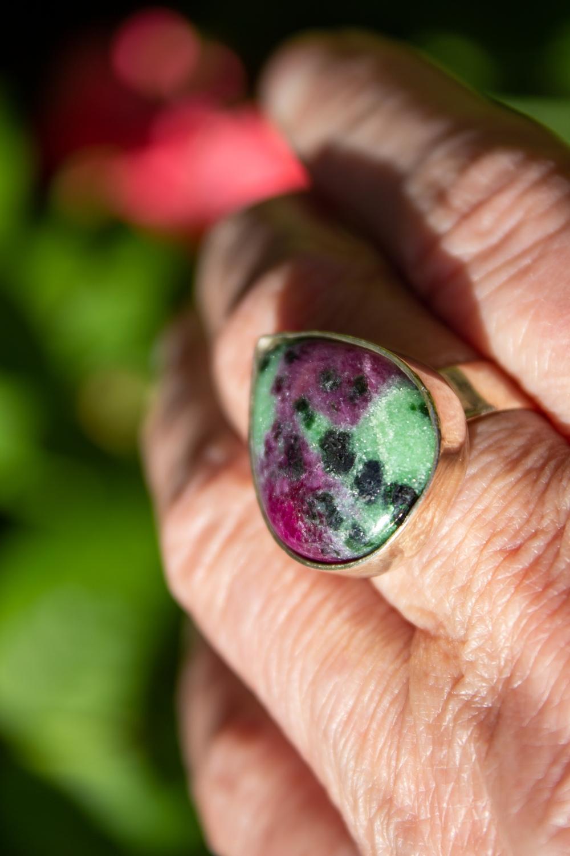 ring heart shape rubi worn