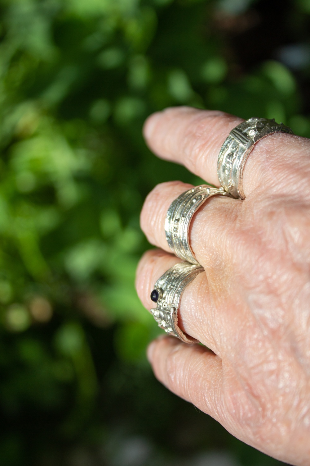 rings free form set small worn